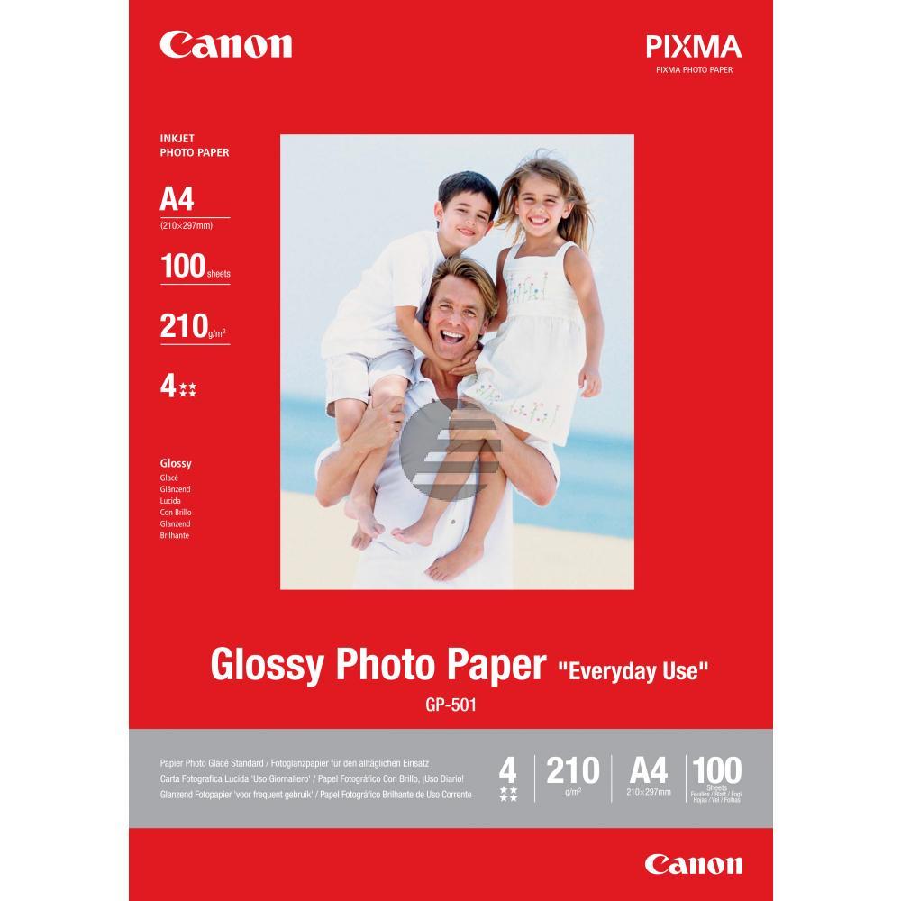 Canon Fotopapier 10 x 15cm Fotopapier glänzend weiß 100 Blatt 10 x 15 cm 210 g/m² (0775B003, GP-501)