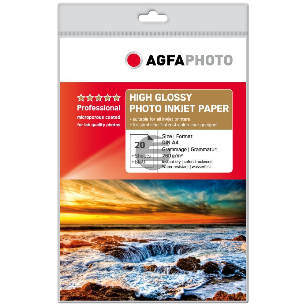 Agfaphoto Inkjetpapier glänzend weiß 20 Blatt DIN A4 260 g/m² (AP26020A4)