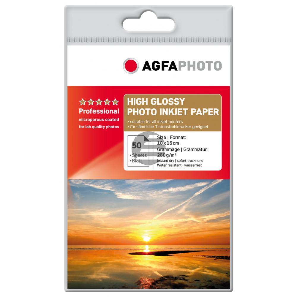 Agfaphoto Inkjetpapier glänzend weiß 50 Blatt 10 x 15 cm 160 g/m² (AP26050A6)