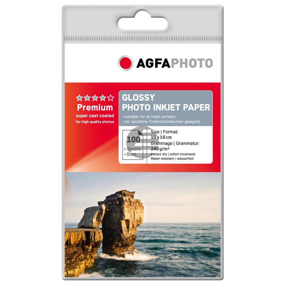 Agfaphoto Inkjetpapier weiß 100 Blatt 10 x 15 cm 240 g/m² (AP240100A6)