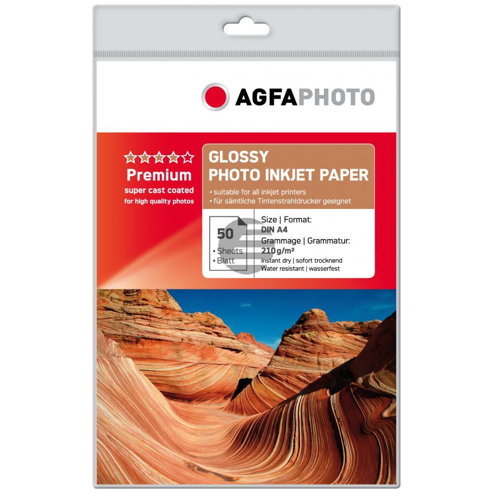 Agfaphoto Inkjetpapier glänzend weiß 50 Blatt DIN A4 210 g/m² (AP21050A4)