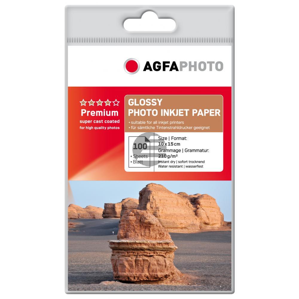 Agfaphoto Inkjetpapier weiß 100 Blatt 10 x 15 cm 210 g/m² (AP210100A6)