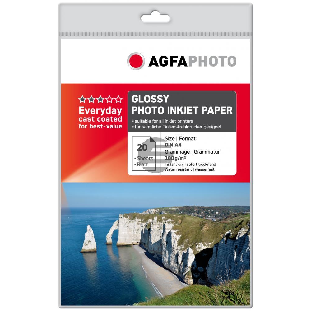 Agfaphoto Fotopapier glänzend weiß 20 Blatt DIN A4 180 g/m² (AP18020A4)