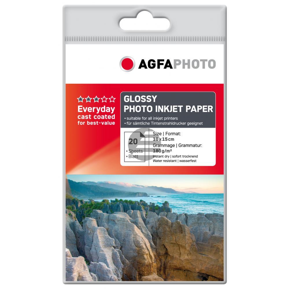 Agfaphoto Fotopapier glänzend weiß 20 Blatt 10 x 15 cm 180 g/m² (AP18020A6)