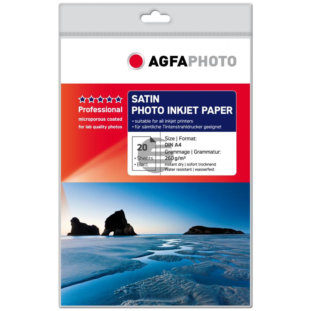 Agfaphoto Fotopapier satiniert weiß 20 Blatt DIN A4 260 g/m² (AP26020A4S)