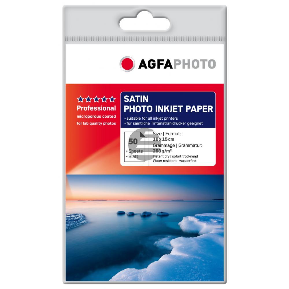 Agfaphoto Fotopapier satiniert weiß 50 Blatt 10 x 15 cm 260 g/m² (AP26050A6S)