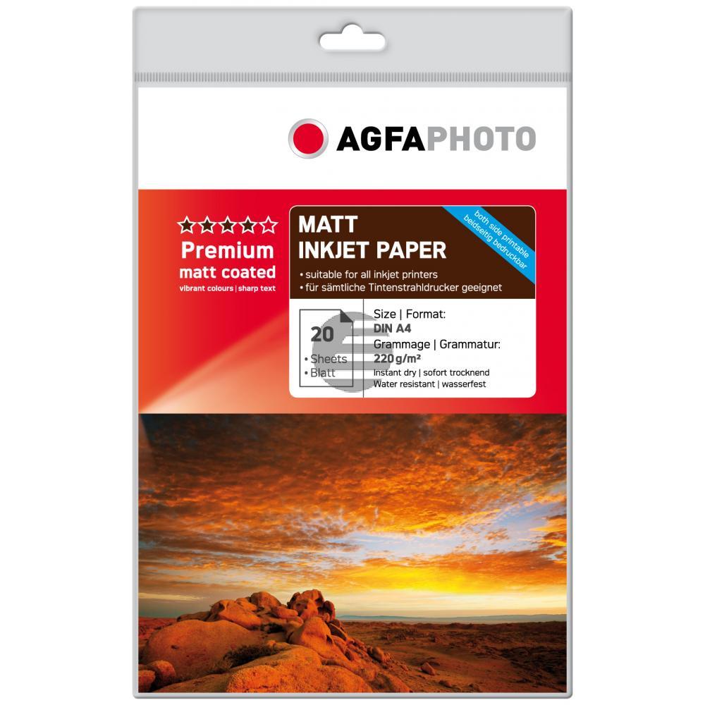 Agfaphoto Fotopapier matt weiß 20 Blatt DIN A4 220 g/m² (AP22020A4MDUO)