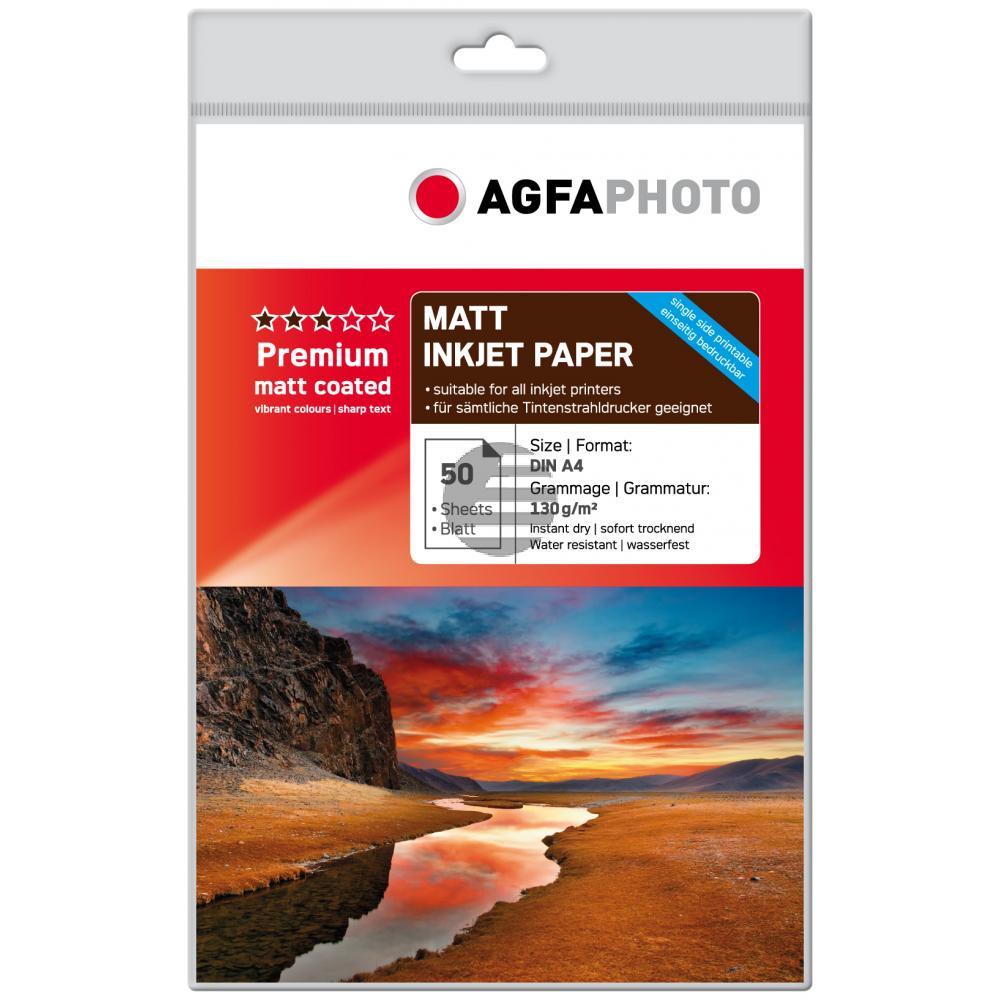 Agfaphoto Fotopapier matt beschichtet weiß 50 Blatt DIN A4 130 g/m² (AP13050A4M)