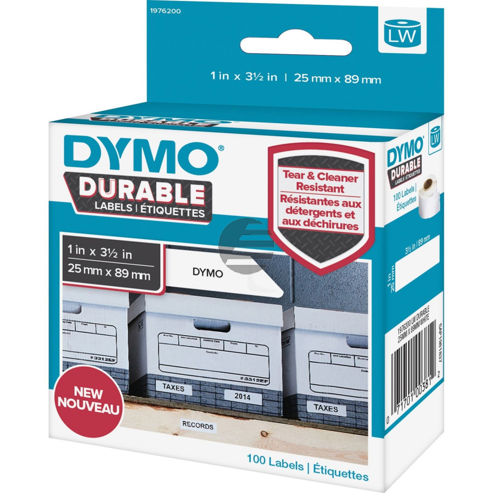 1976200 DYMO 25x89mm WEISS KUNSTSTOFF 1Rl/100Stk LW Adress-Etiketten permanent