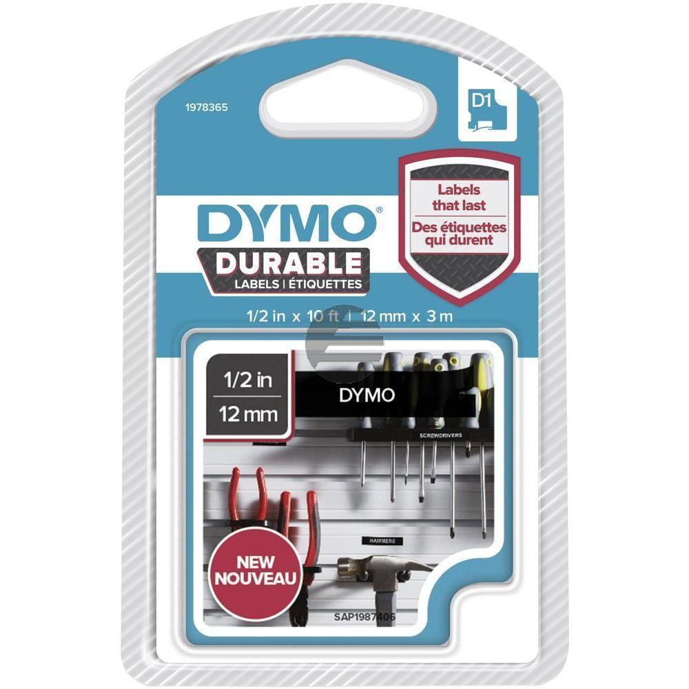 1978365 DYMO D1 12mm WEISS-SCHWARZ Vinyl Schriftband 3m permanent haftend