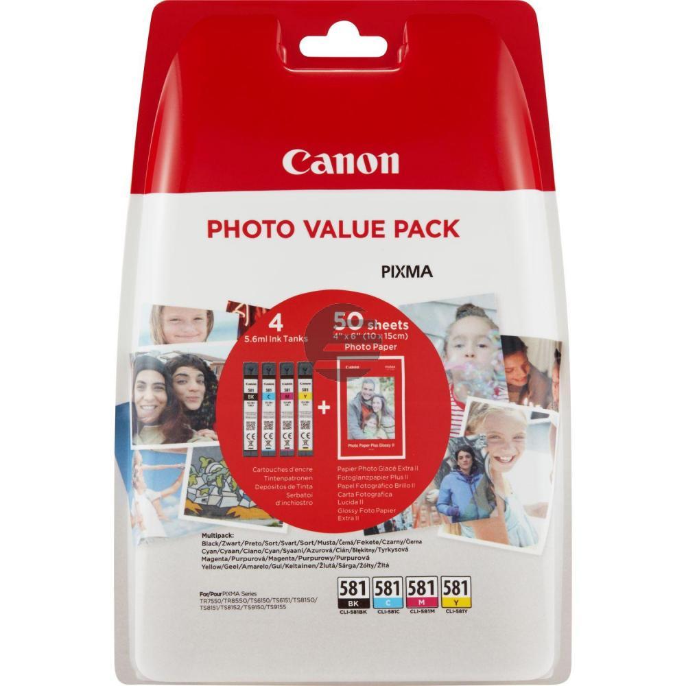 Canon Tintenpatrone gelb cyan magenta schwarz (2106C005, CLI-581BK CLI-581C CLI-581M CLI-581Y)