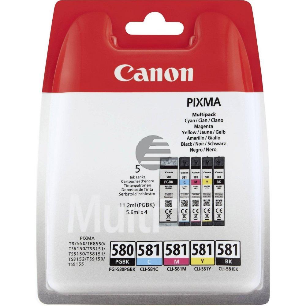 Canon Tintenpatrone gelb cyan magenta schwarz photo schwarz (2078C005, CLI-581BK CLI-581C CLI-581M CLI-581Y PGI-580PGBK)
