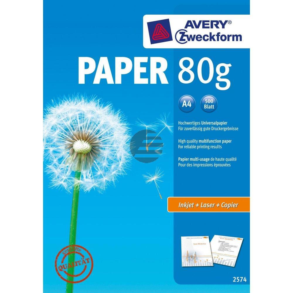 AZ Inkjetpapier 2574 A4 weiß Inh.500 80 g/qm Avery Zweckform