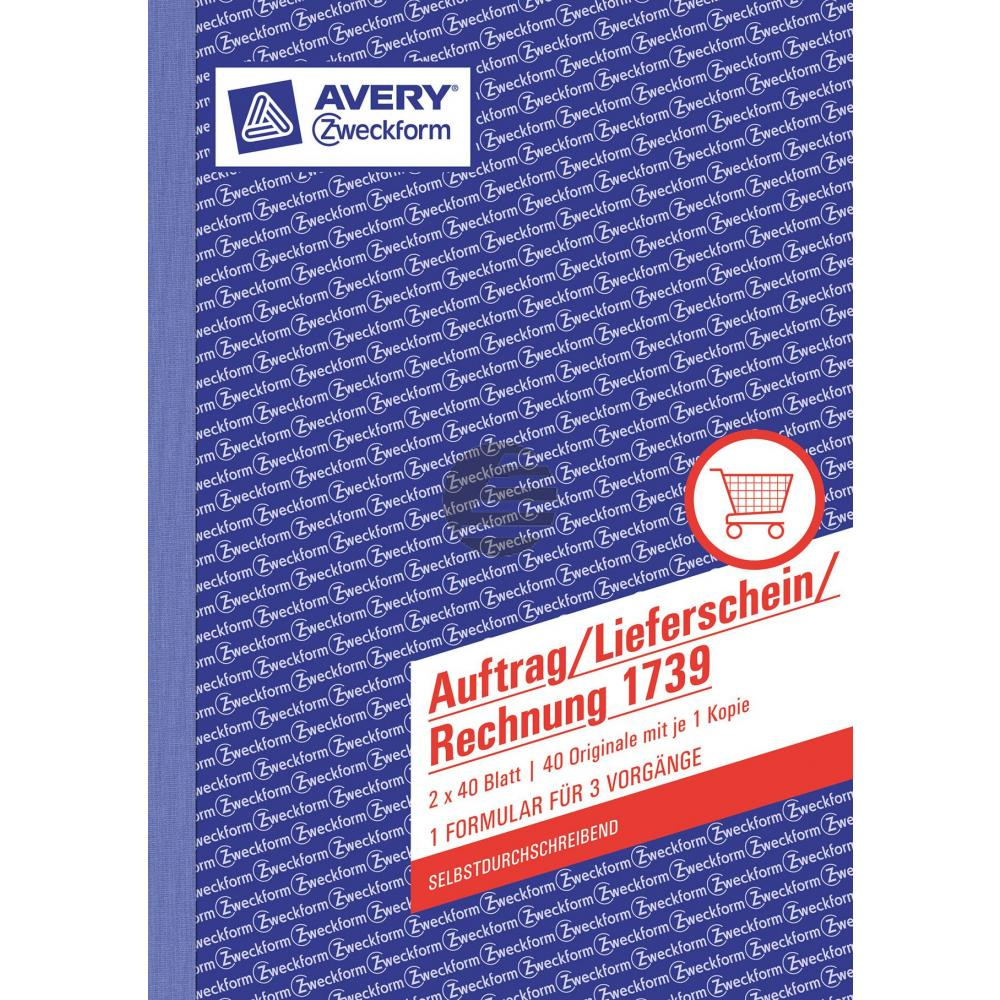 AZ Auftragsbuch 1739 A5 hoch weiß/gelb Inh.2 x 40 Blatt Avery Zweckform