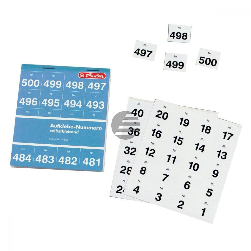 Herlitz Aufklebenummern 1-500 weiß Inh.500