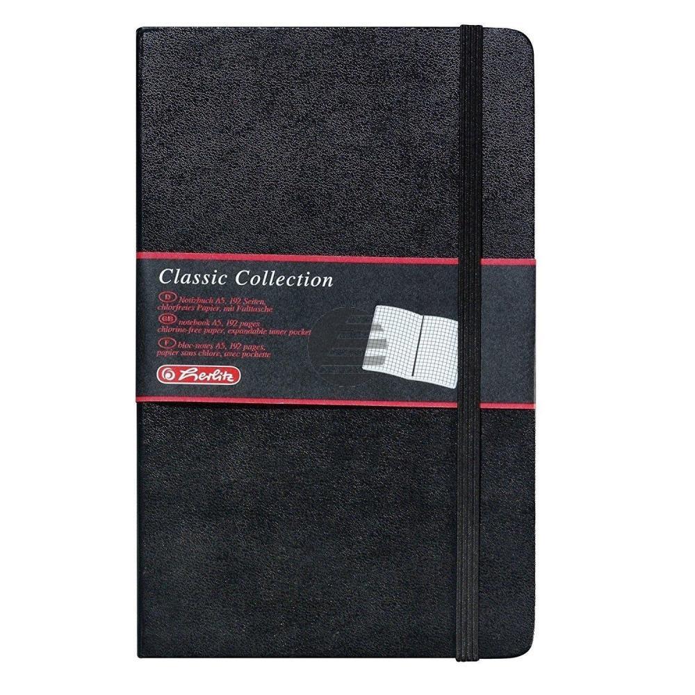 Herlitz Notizbuch A5 Classic Collection schwarz kariert 80g/qm