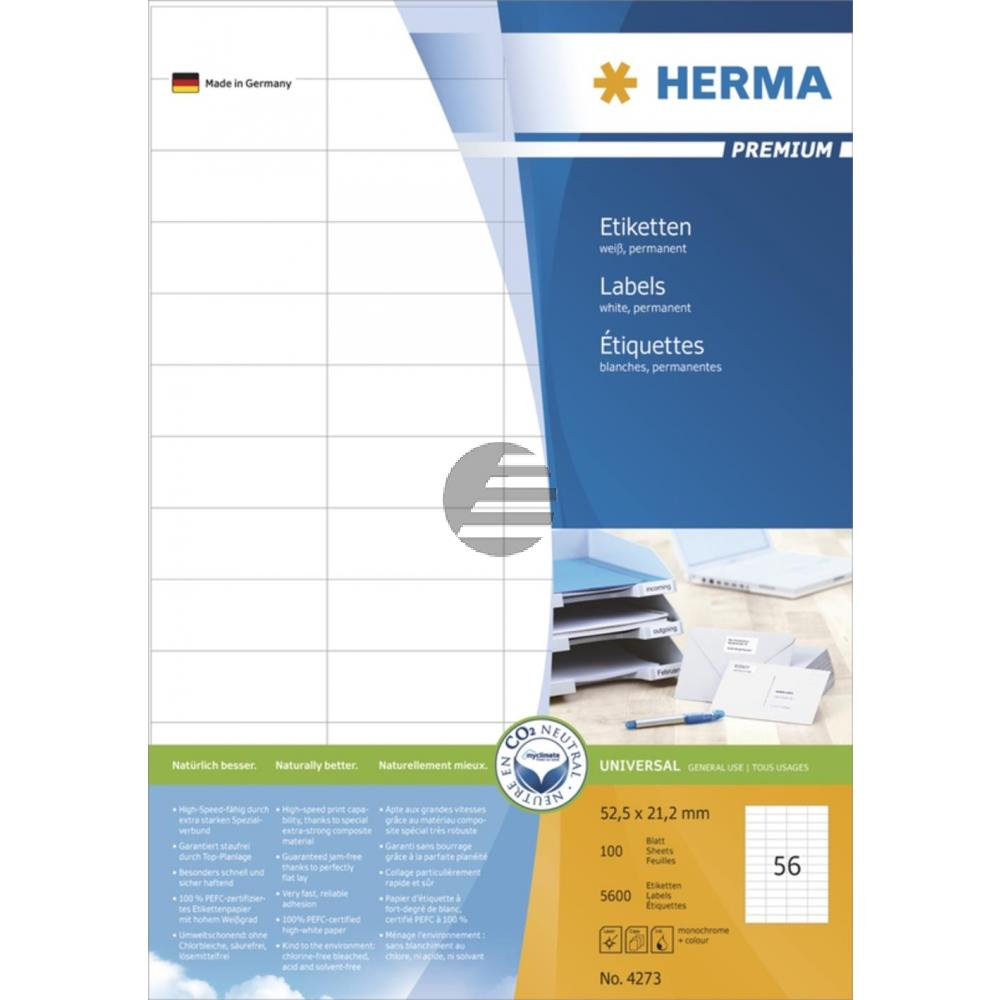 Herma Etiketten Superprint weiß 52,5 x 21,2 mm Inh.5600