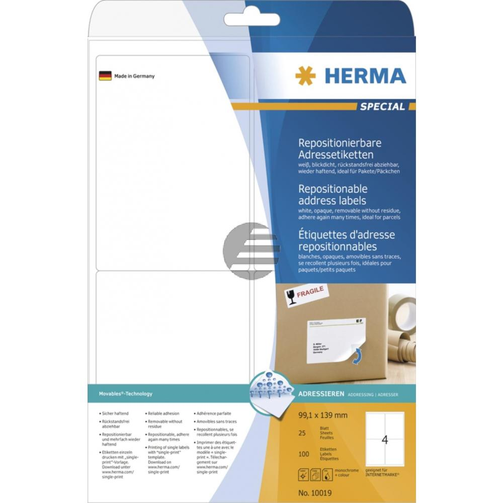 Herma Adressetiketten A4 weiß 99,1 x 139 mm ablösbar Papier Inh.100