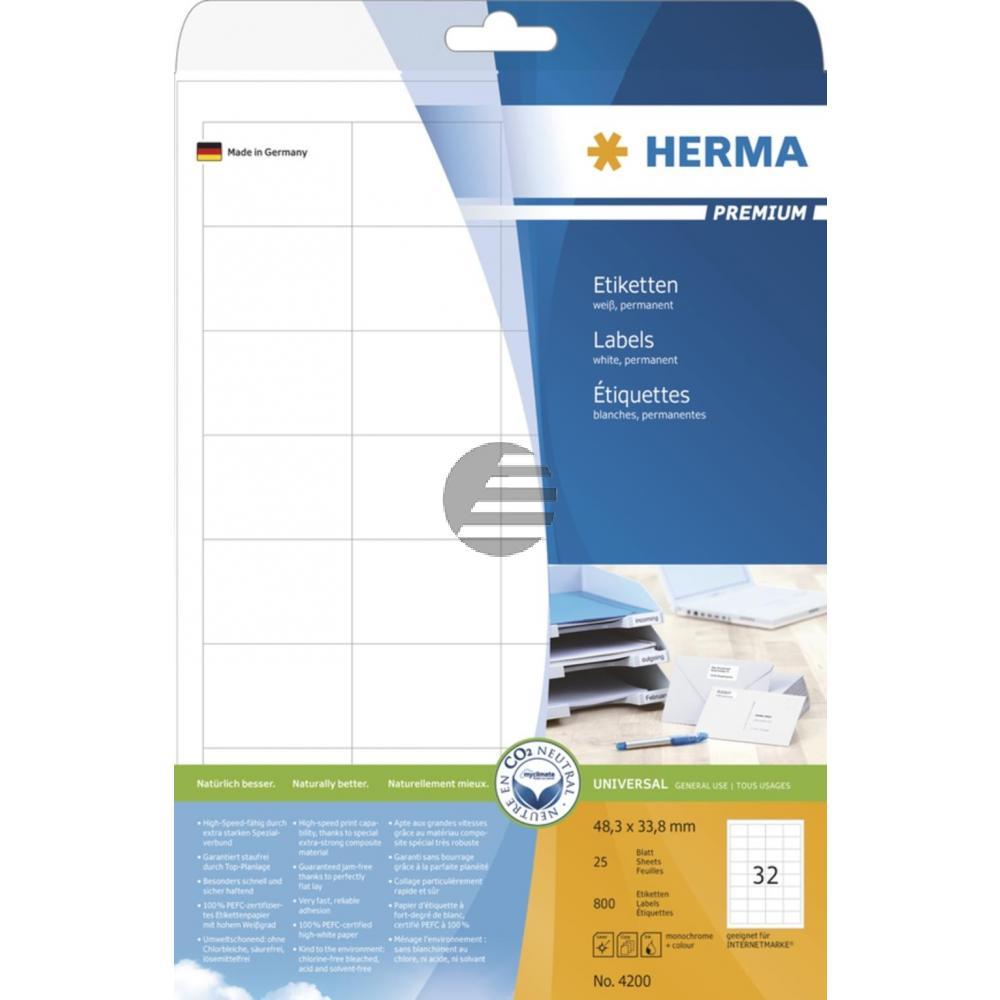 Herma Adressetiketten A4 weiß 48,3 x 33,8 mm Papier matt Inh.800