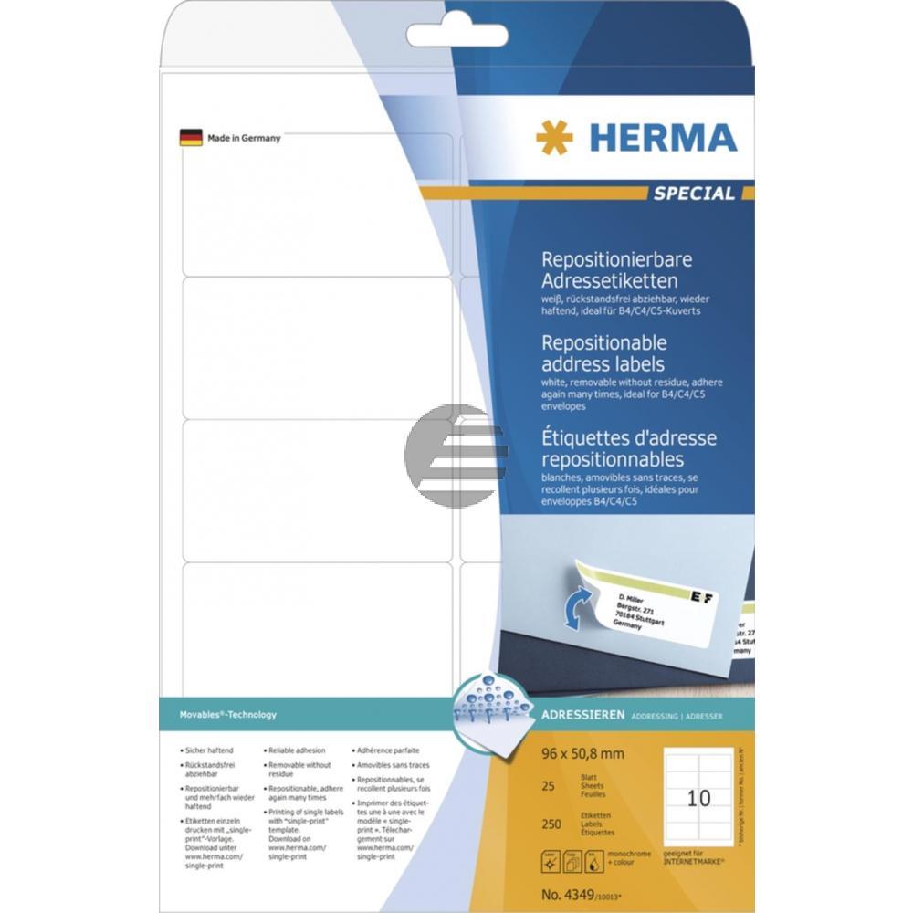 Herma Adressetiketten A4 weiß 96 x 50,8 mm Papier matt Inh.250