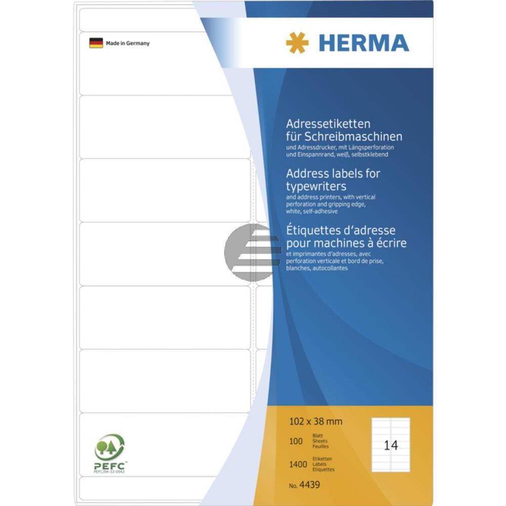 Herma Adressetiketten A4 weiß 102 x 38 mm Papier matt Inh.1400 für Schreibmaschinen