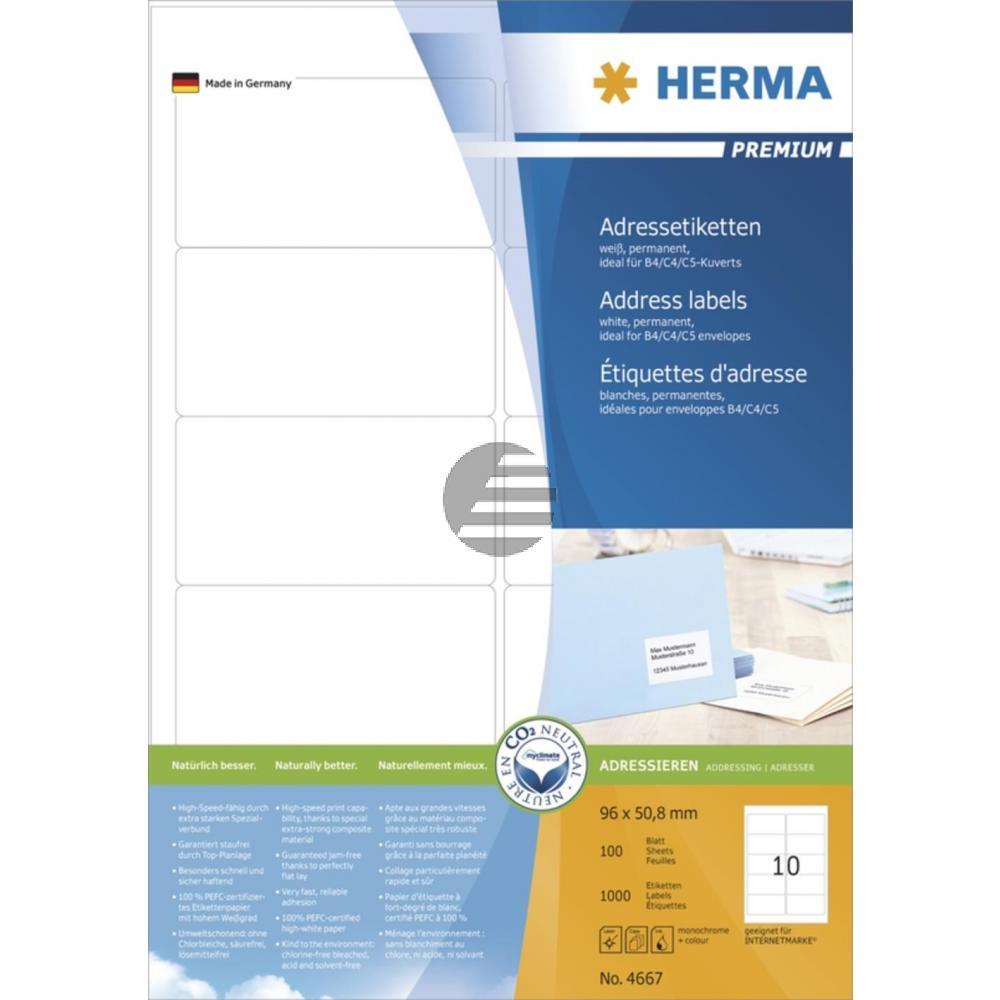 Herma Adressetiketten A4 weiß 96 x 50,8 mm Papier matt Inh.1000 Premium