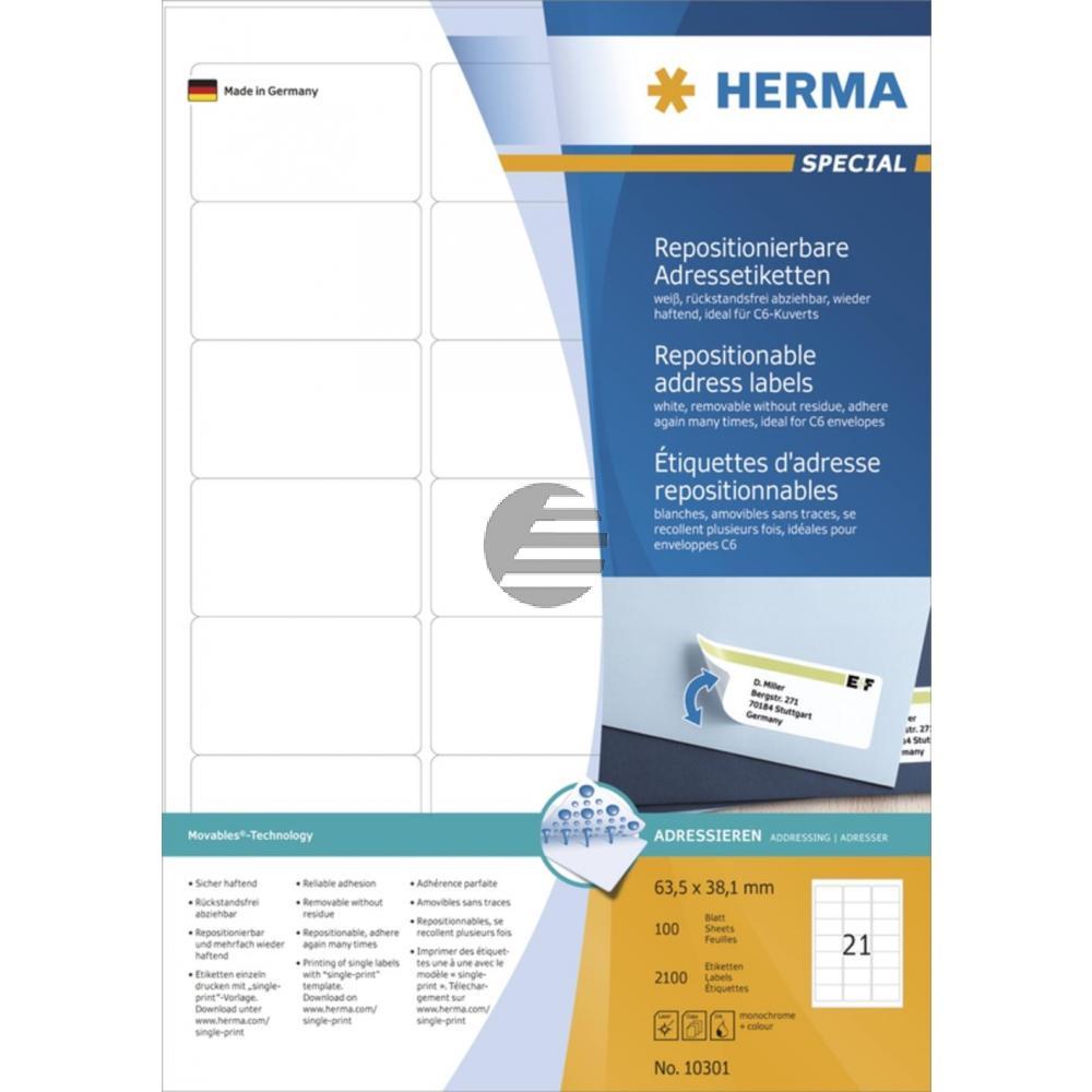 Herma Adressetiketten A4 weiß 63,5 x 38,1 mm ablösbar Inh.2100