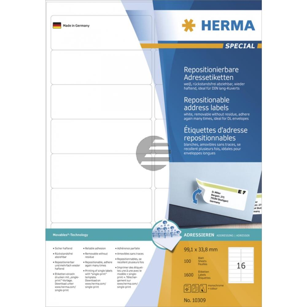 Herma Adressetiketten A4 weiß 99,1 x 33,8 mm ablösbar Papier Inh.1600