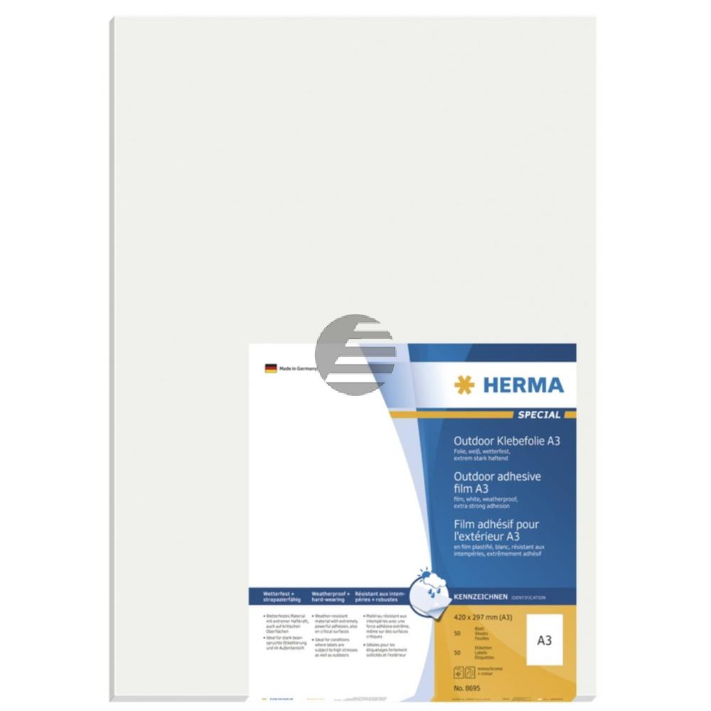 Herma A3-Etiketten weiß Outdoor 297 x 420 mm Folie matt Inh.50 stark haftend