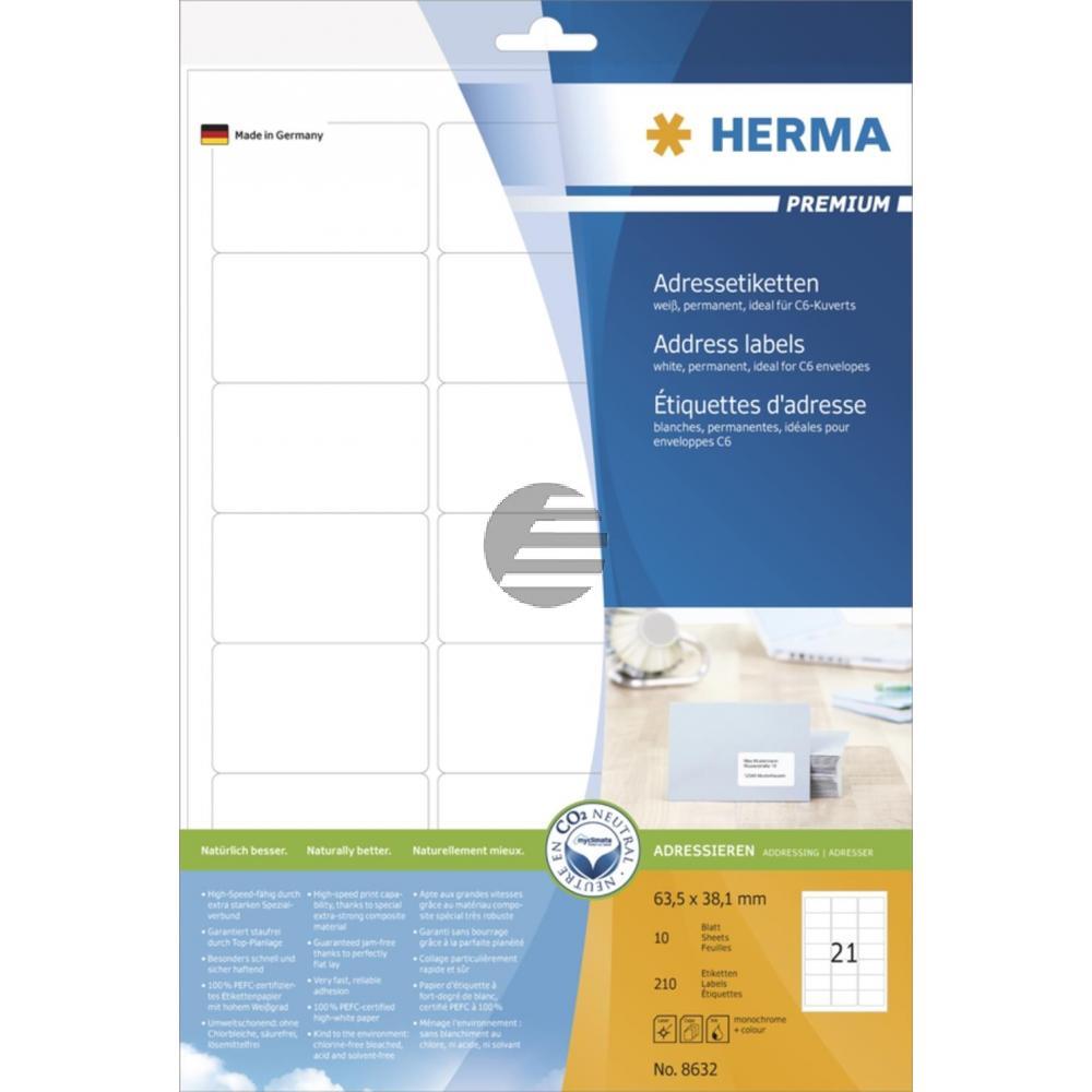 Herma Adressetiketten A4 weiß 63,5 x 38,1 mm Papier matt Inh.210 Premium Etiketten