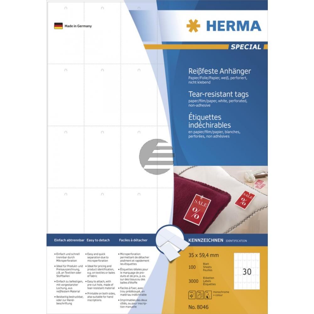 Herma Anhänger A4 weiß stabil 35 x 59,4 mm Papier/Folie/Pap. Inh.3000 nicht klebend perforiert