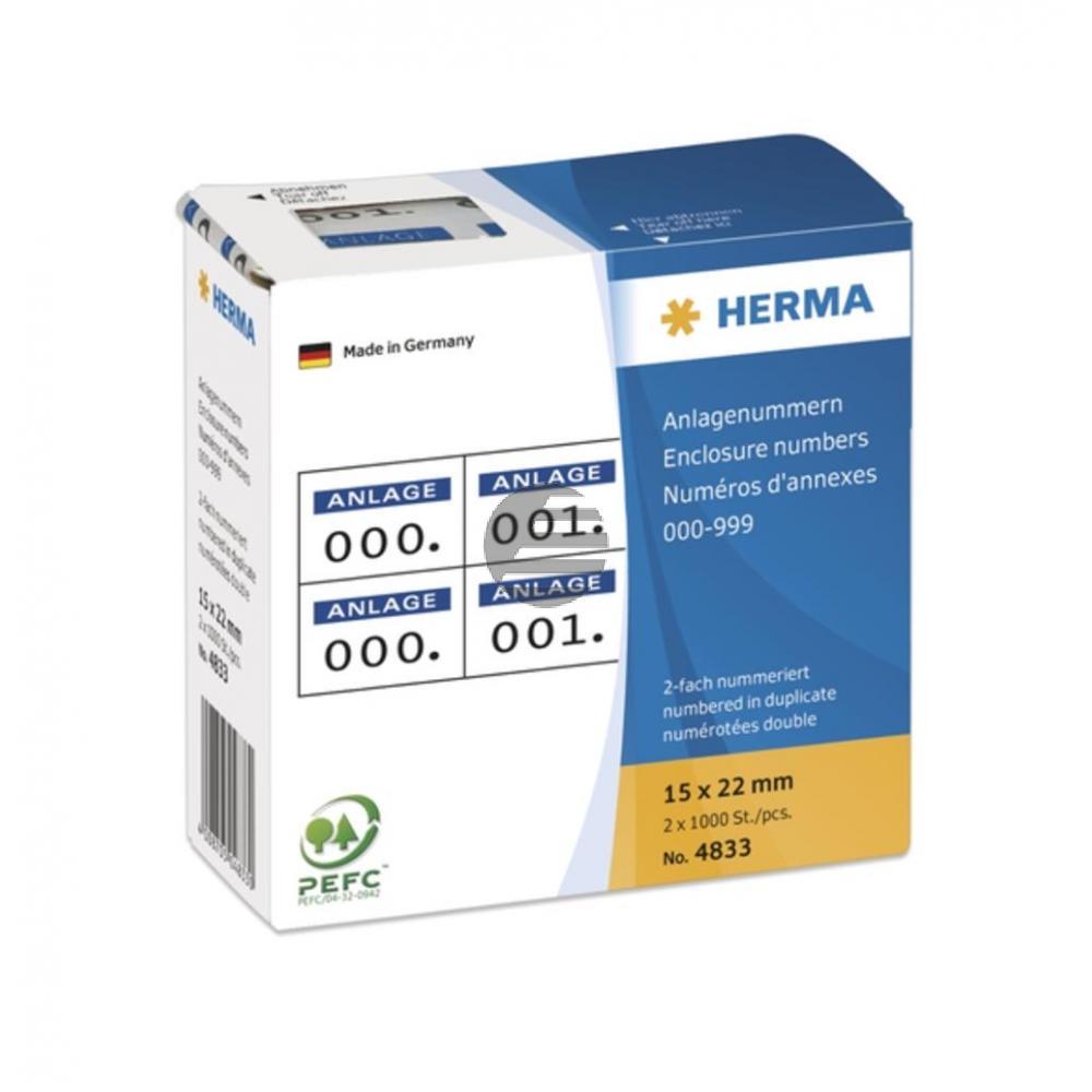 Herma Anlagenummern 15 x 22 mm selbstklebend 2-fach Aufdruck dunkelblau