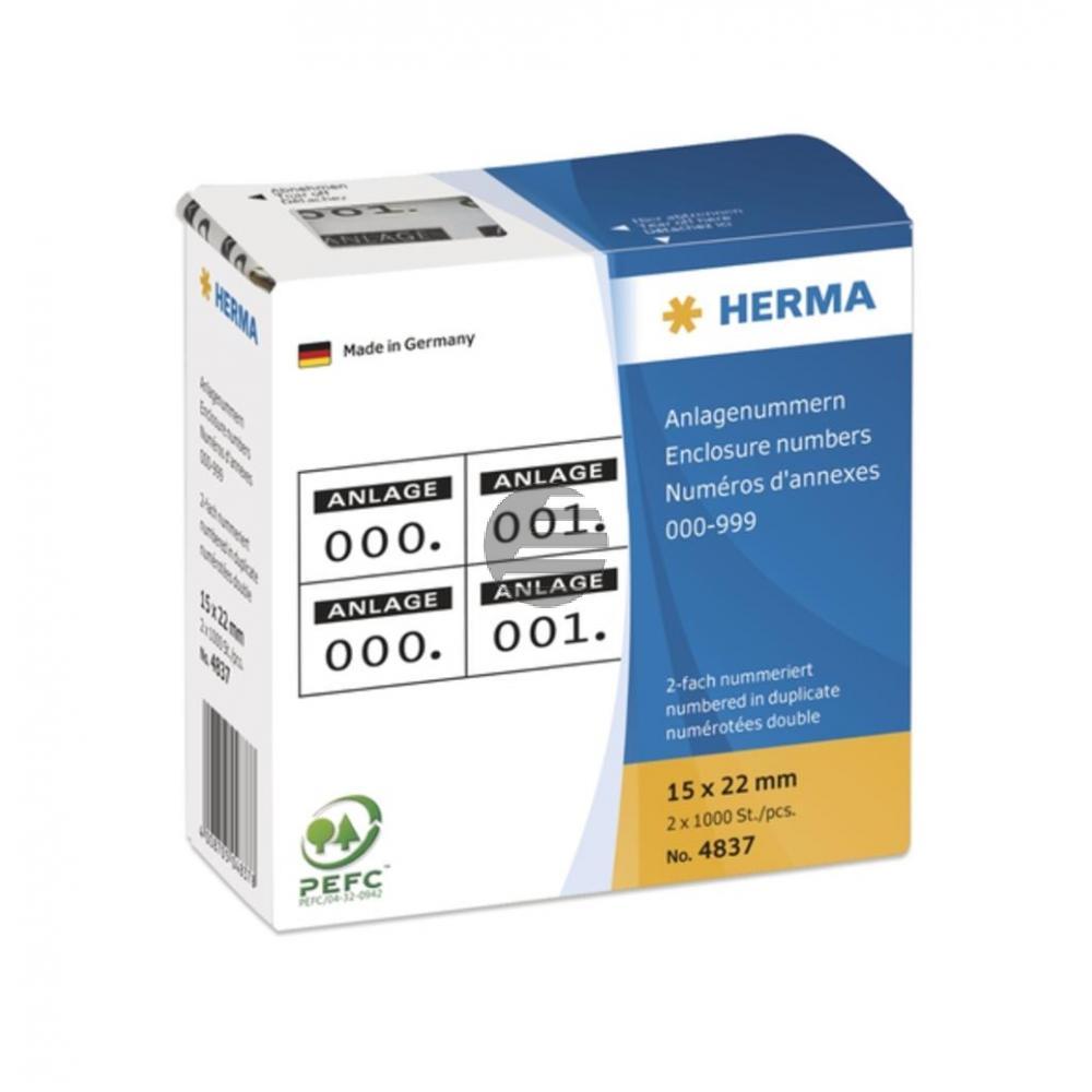 Herma Anlagenummern 15 x 22 mm selbstklebend 2-fach Aufdruck schwarz