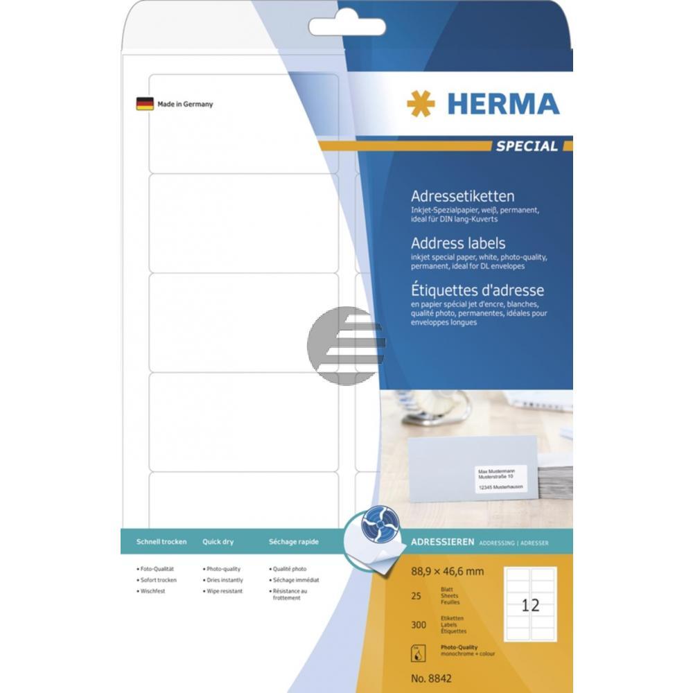 Herma InkJet Etiketten A4 88,9 x 46,6 mm weiß Papier matt Inh.300