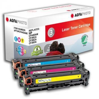 Agfaphoto Toner-Kartusche gelb cyan magenta 3-er Pack (APTHPCF440AME)