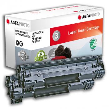 Agfaphoto Toner-Kartusche 2 x schwarz (APTHP283ADUOE) ersetzt CF283AD / 83AD