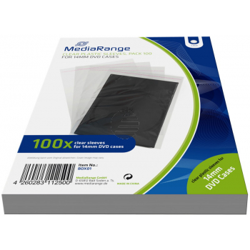 MEDIARANGE DVD PLASTIKHUELLEN (100) KLAR BOX01 fuer 14mm DVD Cases