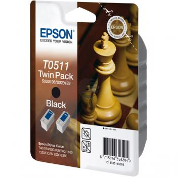 Epson Tintenpatrone 2x schwarz (C13T05114210, 2x T0511)