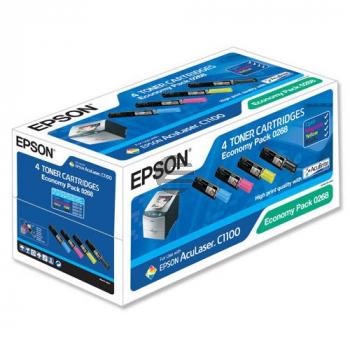 Epson Toner-Kartusche gelb cyan magenta schwarz 4-er Pack (C13S050268, 0268)