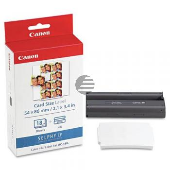 Canon Thermo-Transfer-Rolle Photo Paper 54x86mm weiß farbig 18 Blatt (7740A001, KC-18IL)