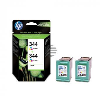 HP Tinte 2x Cyan/gelb/Magenta HC (C9505EE, 2x 344)