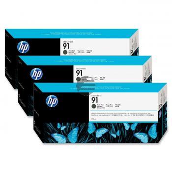 HP Tintenpatrone 3 x schwarz matt 3er Pack (C9480A, 3 x 91)