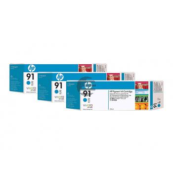 HP Tintenpatrone 3 x cyan 3er Pack (C9483A, 3 x 91)