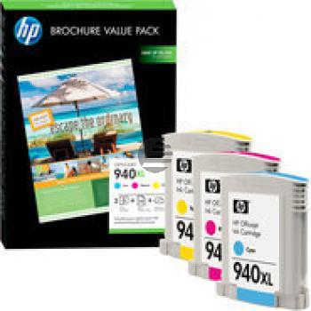 HP Tintenpatrone + Papier gelb cyan magenta HC (CG898AE, 3 x 940XL)