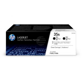 HP Toner-Cartouche 2 x zwart pacote duplo (CB435AD, 35AD)