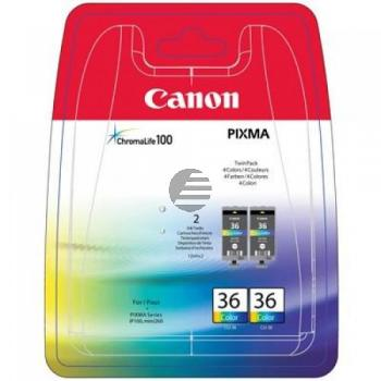 Canon Tintenpatrone 2 x schwarz/cyan/magenta/gelb 2-Pack (1511B018, CLI-36)