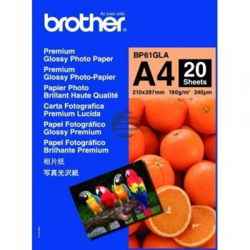 Brother Photo Glossy Paper Inkjetpapier weiß 20 Seiten DIN A4 (BP61GLA)