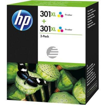 HP Tintenpatrone 2x cyan/gelb/magenta (D8J46AE, 2x 301XL)
