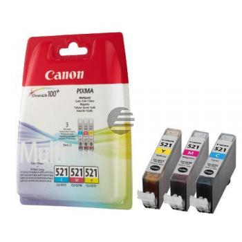 Canon Tintenpatrone gelb cyan magenta (2934B011, CLI-521C CLI-521M CLI-521Y)
