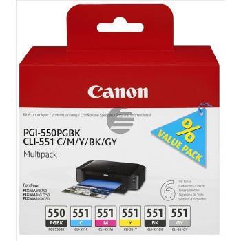 Canon Tintenpatrone gelb cyan grau magenta schwarz pigment schwarz (6496B005, CLI-551 PGI-550)